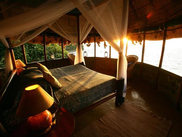 Mfangano Island Camp - bedroom at sunset