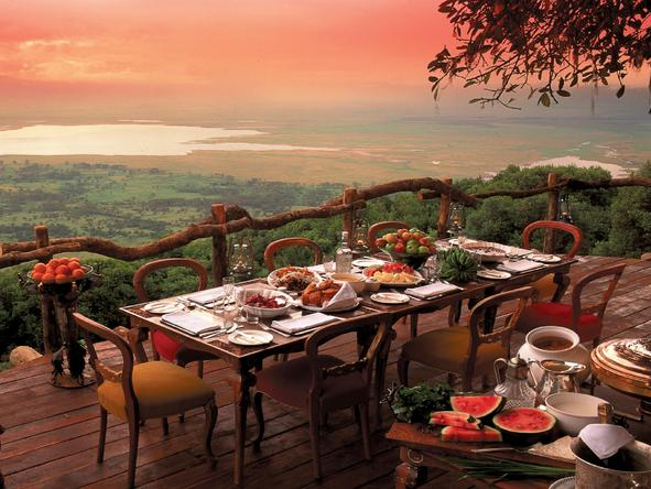 Ngorongoro Crater Lodge - outdoor dining