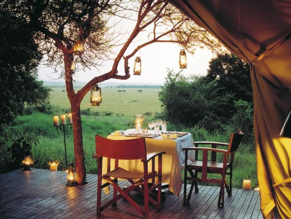 Kichwa Tembo Bateleur Camp - tent patio dining