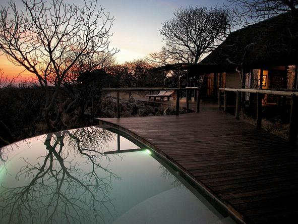 Little Ongava Camp - deck at sunset