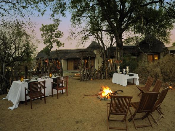 Tintswalo Safari Lodge - campfire + outdoor dining