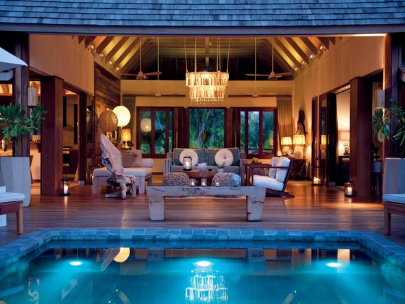 Desroches Island Resort - pool at night