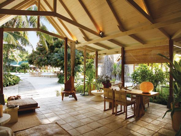 Desroches Island Resort - dining under canopy