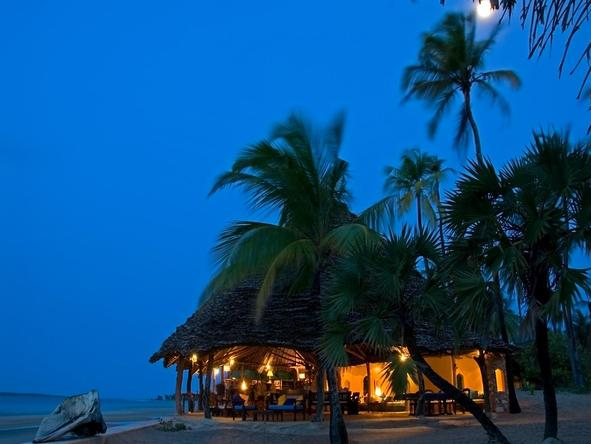 Manda Bay - lodge at night
