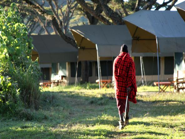 Lemala Ngorongoro - Maasai in front of tents