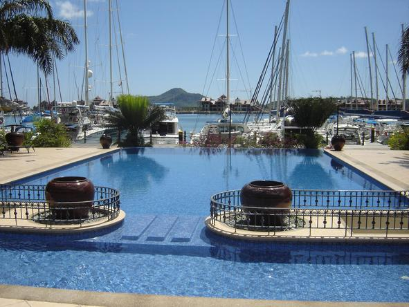 The Wharf Hotel and Marina - swimming pool with marina