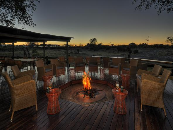 Savute Safari Lodge - campfire on deck