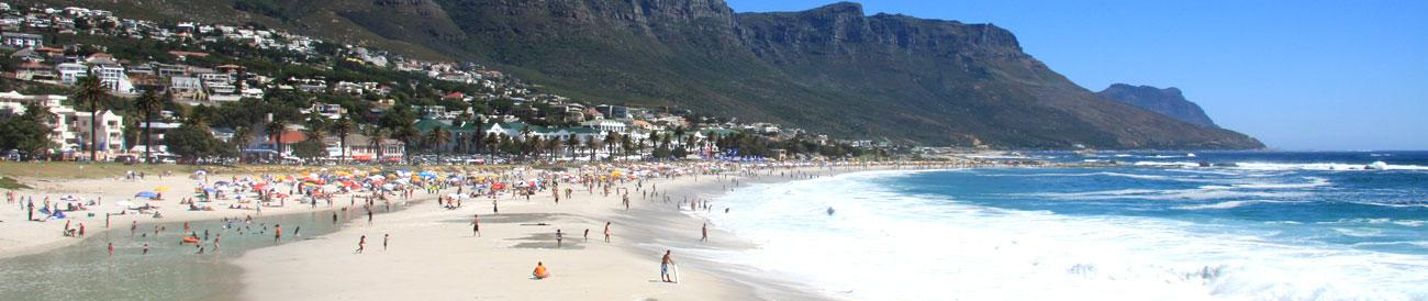 Camps Bay - this scenic suburb is fronted by beautiful Camps Bay beach, one of the most spectacular white-sand beaches in the Cape.