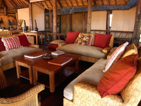 Chief's Camp - spacious safari-themed lounge