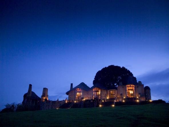 Ngorongoro Crater Lodge - exterior night-time