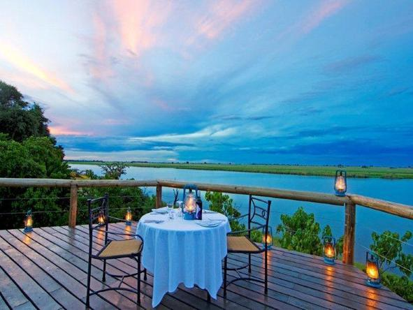 Chobe Game Lodge - romantic deck dinner