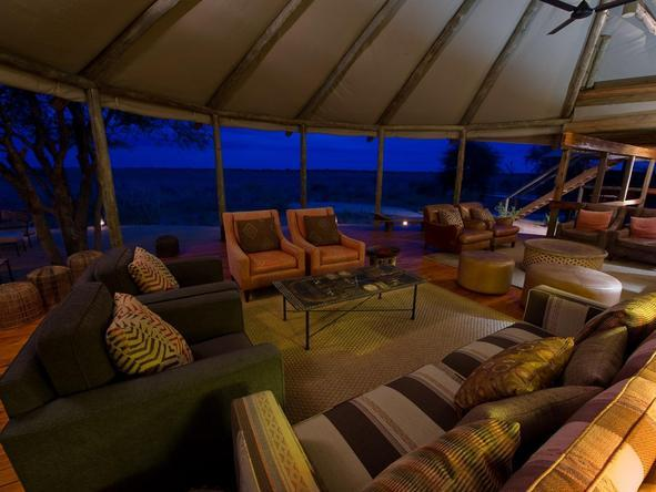 Kalahari Plains Camp - main lounge at night
