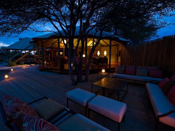 Kalahari Plains Camp - main deck at night