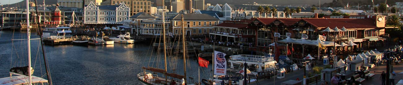 V&amp;A Waterfront  a working harbour famous for its upmarket hotels, restaurants, shops and Cape Towns best view of Table Mountain.