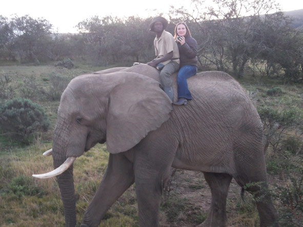 Anza Snyman - riding an elephant - bareback!