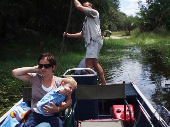 Anza Snyman - heading out into the Okavango Delta with the family