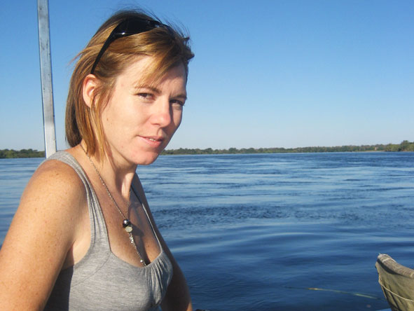Catherine Silberstein - soaking up the sun on a Mozambique dhow cruise