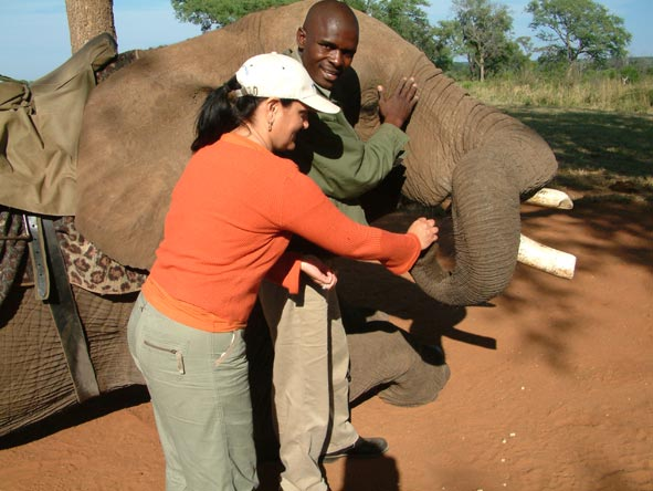 Sharlene Swart - meeting a friendly elephant