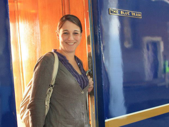 Tracy Payne - embarking the famous Blue Train