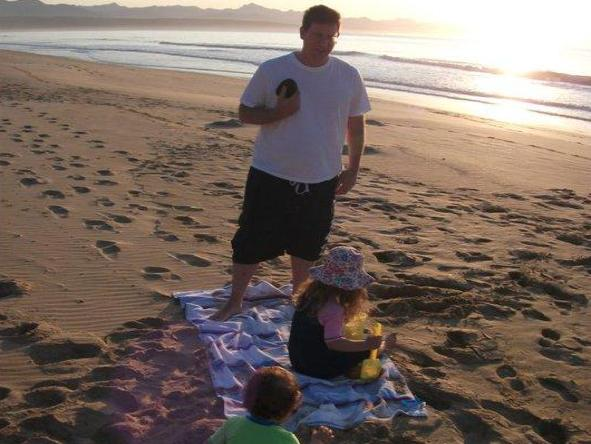 Jason Sheldon - enjoying some relaxed beach time with his family