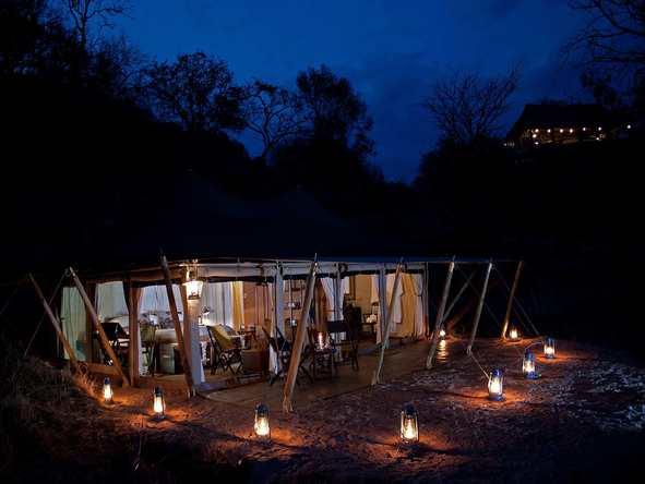 Serengeti Pioneer Camp - Main Tent at night