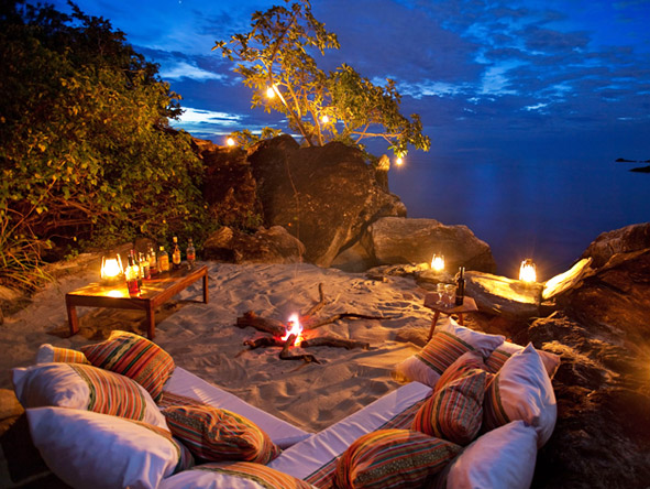 Zambia's South Luangwa & the remote Lake Malawi - beach campfire