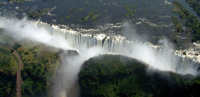 Africa's Famous Places - thundering Victoria Falls from the air