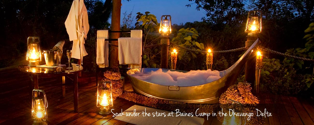 Romantic Escapes - a private bath on your deck at Baines Camp