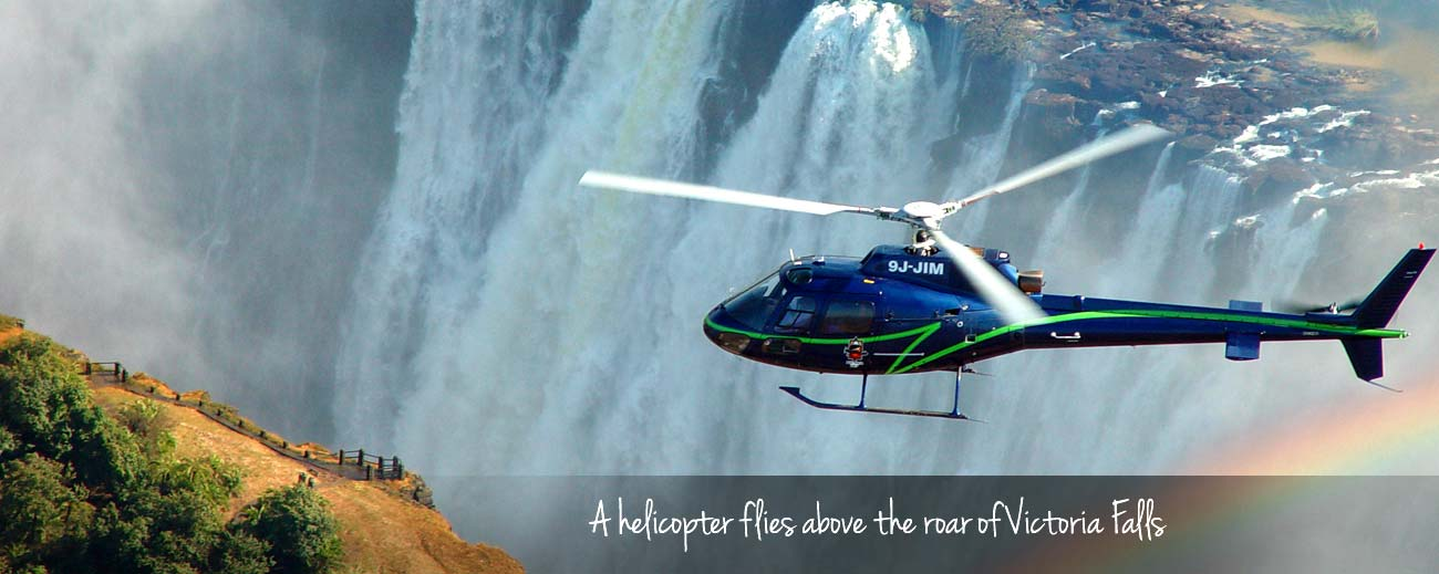 East vs Southern Africa Safaris - fly over Vic Falls in a helicopter