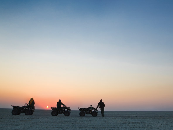 You'll appreciate the scale of the vast Makgadikgadi Pans while on an exciting quad biking expedition.