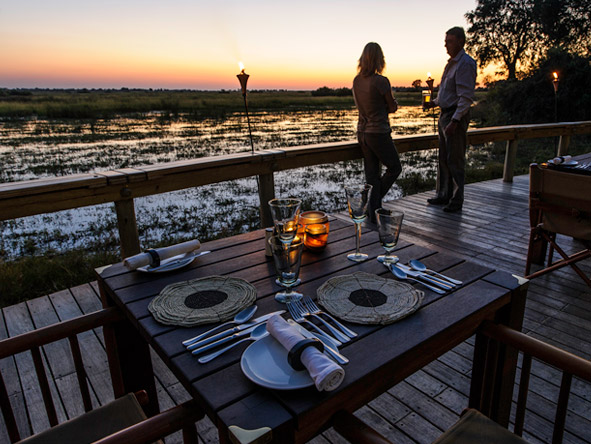 Luxury Botswana Wilderness Honeymoon - Sunset deck dinners
