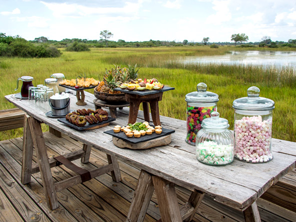 Luxury Botswana Wilderness Honeymoon - High tea at Vumbura