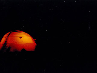 The Big Escape - a glowing tent on the slopes of Mount Kilimanjaro