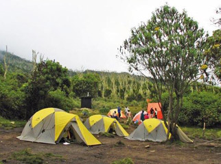 Climbing Kili - you'll spend your nights on the slopes in dome tents