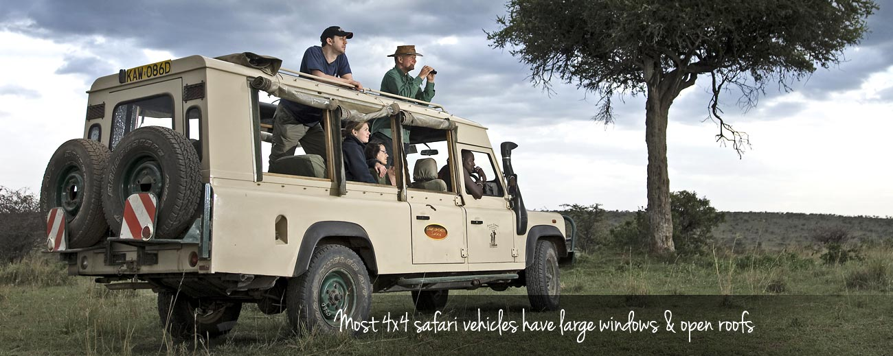 Safari Vehicles - nearly all safari lodges use a 4x4 vehicle with an open roof & sides