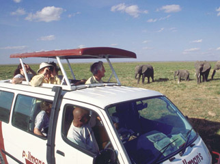 Safari Vehicles - scheduled Kenya tours often use minibusses with pop-up roofs