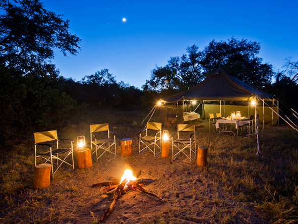 Vic Falls & Botswana Migration Safari - Campfire drinks