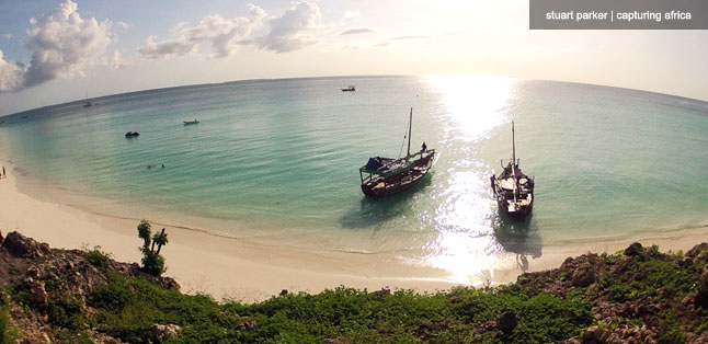 The postcard-perfect view from Hideaway of Nungwi Resort.