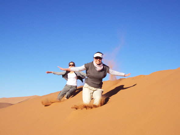 Liesel van Zyl - having fun on the Sossusvlei dunes