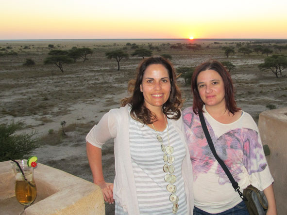 Liesel van Zyl - enjoying cocktails & an Etosha sunset