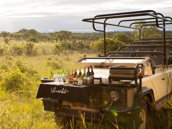 A welcome drinks break on safari is what you can expect in the Sabi Sands; here, the Ulusaba vehicle is your bush bar!