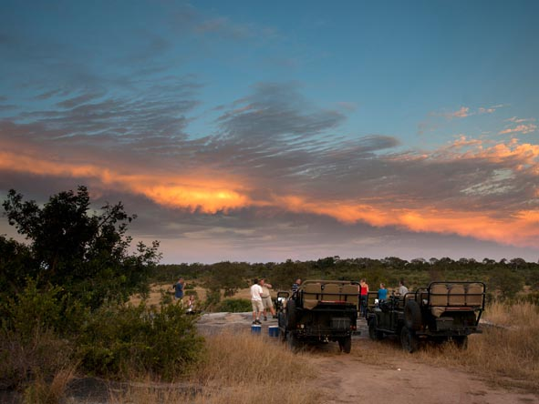 Sundowners are normally enjoyed in a beautiful setting somewhere in the reserve, usually on top of a rocky outcrop or overlooking a waterhole.