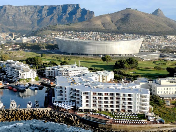 Cape Town has many beach-front hotels, a number of which enjoy the spectacular backdrop of Table Mountain and the Cape Town Stadium.