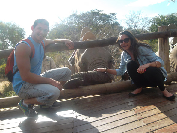 Kelly-Anne Blanchard - interacting with one of the friendly elephants just outside Victoria Falls.