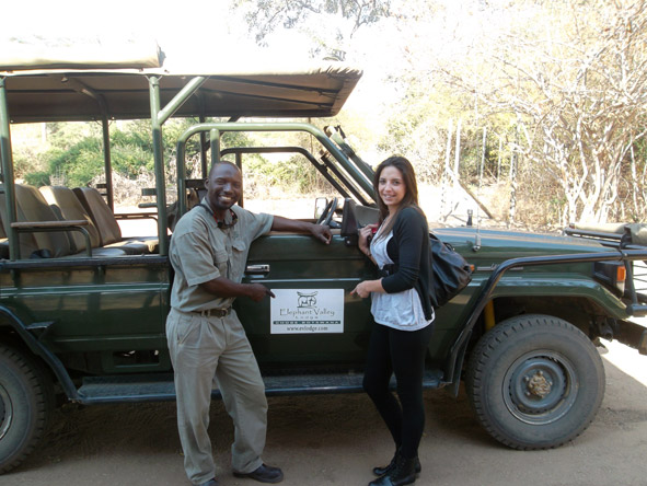 Kelly-Anne Blanchard - meeting one of the rangers of Elephant Valley Lodge in Chobe National Park.