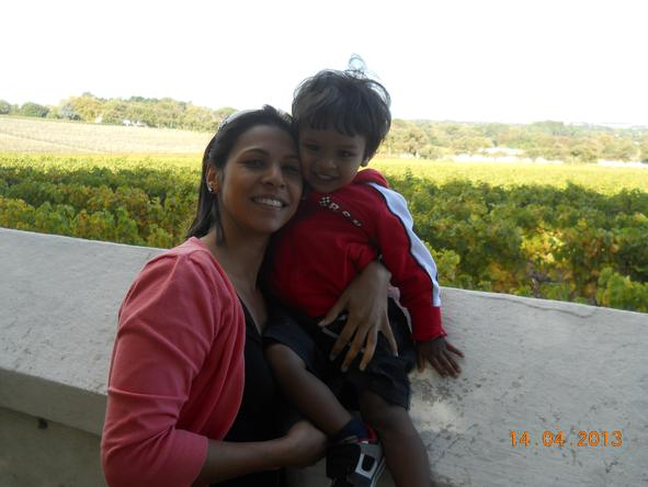 Fatima Davids - with her young son enjoying a relaxed afternoon at Groot Constantia.