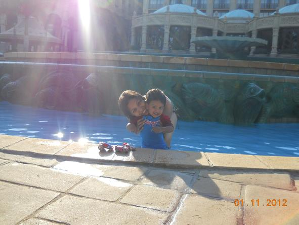 Fatima Davids - relaxing in the swimming pool at The Palace of the Lost City at Sun City resort.