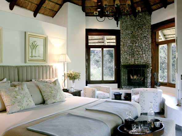 Suites at Londolozi Founders Camp come complete with a fireplace to ward off the Kruger's winter chill.