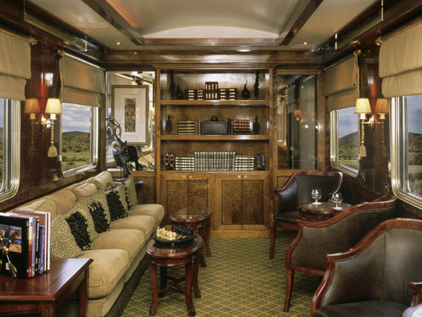 Leather, brass & polished hardwood lend an air of refined indulgence to our luxury trains.