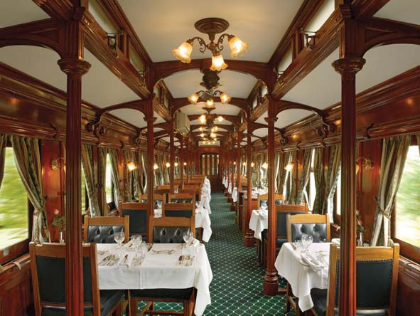 Evening dining on board Rovos Rail is a jacket & tie affair, a nod to the glory days of travel.